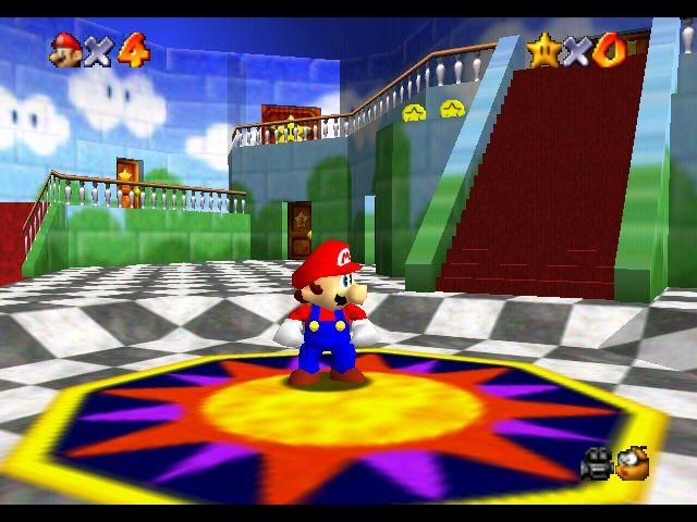 Super Mario 64 inside Peach's castle