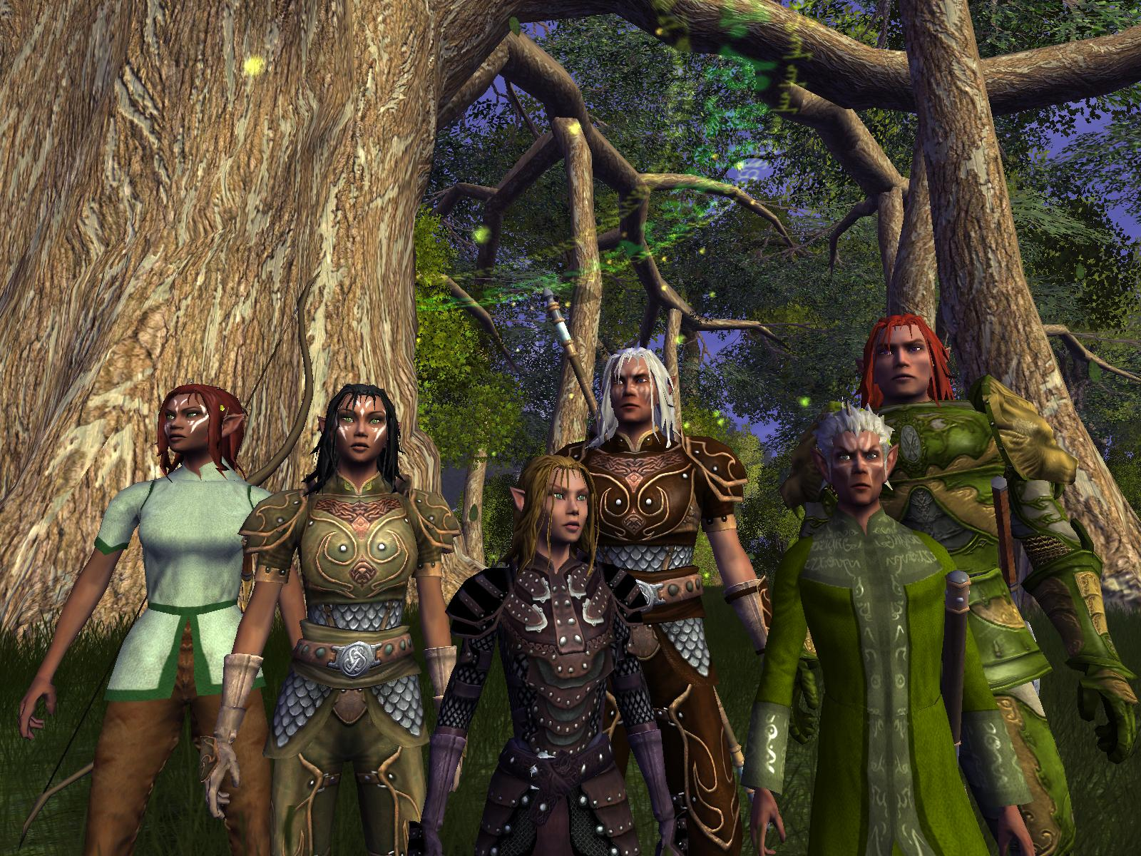 Vanguard: Saga of Heroes MMO group of elves by tree