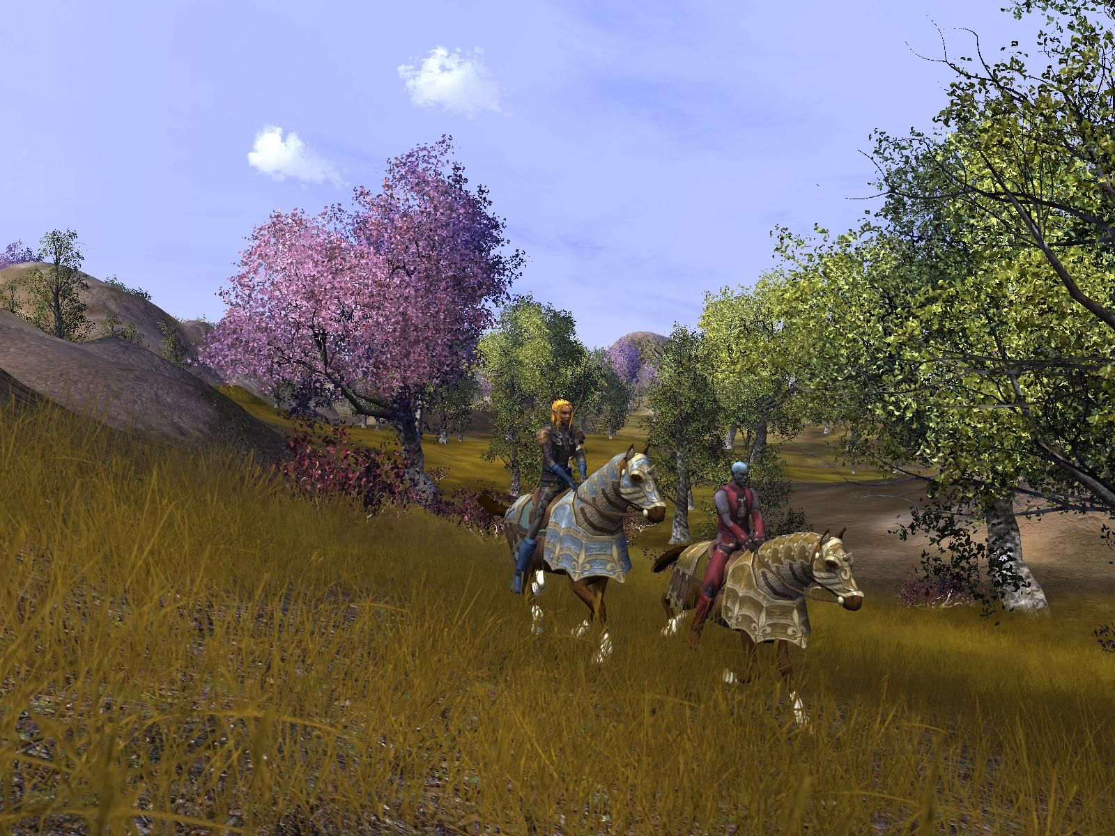 Vanguard: Saga of Heroes MMO mounts in pretty field