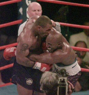 Mike Tyson biting off Evander Holyfield's ear