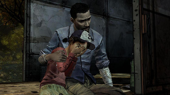 The Walking Dead -- Lee and Clementine on the train